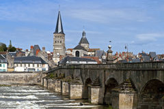 Cityscape of Charite-sur-Loire at the Loire River Royalty Free Stock Images
