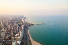 Cityscape of Chicago. Aerial view of Chicago downtown at sunset Royalty Free Stock Photo