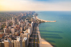 Cityscape of Chicago. Aerial view of Chicago downtown at sunset from high above Stock Image