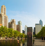 Cityscape of Chicago with Crown Fountain Royalty Free Stock Images