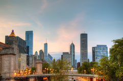 Cityscape of  Chicago in the evening Royalty Free Stock Photos