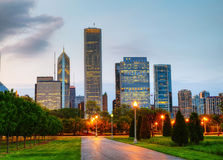 Cityscape of  Chicago in the evening Royalty Free Stock Image
