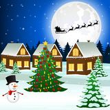 Cityscape with a Christmas tree and gifts royalty free illustration