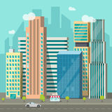 Cityscape, city buildings road, big skyscrapers town, urban street landscape. Cityscape vector illustration, flat style city buildings near road and promenade stock illustration