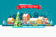 Cityscape. The city in christmas. Vector flat illustration. Royalty Free Stock Photography