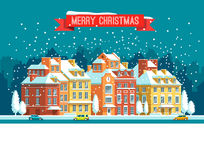 Cityscape. The city in christmas. Vector flat illustration. Royalty Free Stock Image
