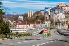 Cityscape of city of Sochi, Russia Royalty Free Stock Photos
