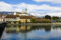 Cityscape of the city of Solothurn. SOLOTHURN, SWITZERLAND - SEPTEMBER 16, 2015: Cityscape of the city, with the population of approx. 16500 citizens, it is the royalty free stock photography