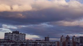 Cityscape. Clouds float above a sleeping quarter Obolon stock video