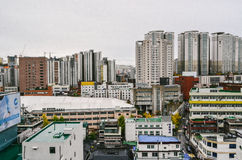 Cityscape on the cloudy day. Urban city landscape on the cloudy day. The shot was taken in Seoul, South Korea Royalty Free Stock Photos