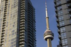 Cityscape with cn tower and two modern buildings. / with blue sky on the background stock photography