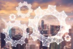 Cityscape cogwheels double exposure business urban stock illustration