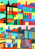 Cityscape collection. Abstract modern urban scene painting Royalty Free Stock Photo