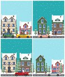 Cityscape Collection of Poster Vector Illustration Stock Images