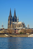Cityscape of Cologne with cathedral, view from across the rhine Royalty Free Stock Image