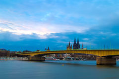 Cityscape of Cologne with the Deutz Bridge across Rhine River and Kolner Dom Stock Images