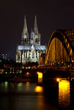 Cityscape of Cologne at night Stock Image