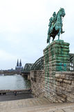 Cityscape of Cologne from the Rhine river bridge Royalty Free Stock Photos