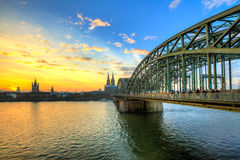 Cityscape of Cologne from the Rhine river Royalty Free Stock Photo