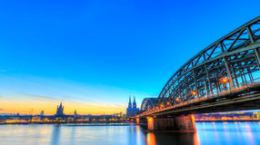 Cityscape of Cologne from the Rhine river Royalty Free Stock Photos