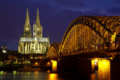 Cityscape of Cologne at twilight Stock Image