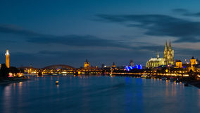 Cityscape of Cologne during twilight Royalty Free Stock Image