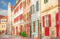 Cityscape with color houses in Sibiu Stock Images