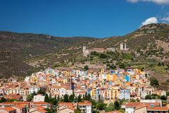Cityscape of Bosa, Italy stock photos