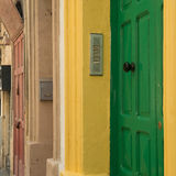 Cityscape with colorful doors in Valletta. Malta Royalty Free Stock Photo