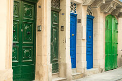 Cityscape with colorful doors in Valletta Royalty Free Stock Photos