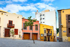 Cityscape with colorful houses in city center. Las Palmas, Gran Royalty Free Stock Photos