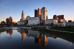 Cityscape of Columbus Ohio at dawn. Scioto River and downtown Columbus Ohio skyline on a crisp cold morning Stock Images