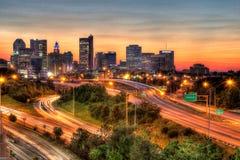 Cityscape of Columbus Ohio at dusk stock images