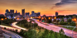 Cityscape of Columbus Ohio at dusk Stock Photo