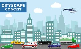 Modern cityscape concept. Flat vector cartoon style illustration urban landscape street with different colorful cars Royalty Free Stock Image