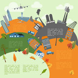 Cityscape conceptual graphic template. Urban, countryside, indus Stock Photography