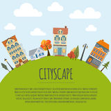 Cityscape conceptual graphic template. Urban, countryside, indus Royalty Free Stock Image