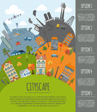 Cityscape conceptual graphic template. Urban, countryside, indus Royalty Free Stock Images
