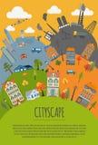 Cityscape conceptual graphic template. Urban, countryside, indus Stock Photos