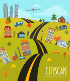 Cityscape conceptual graphic template. Urban, countryside, indus Stock Photo