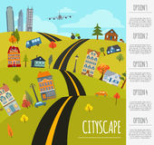 Cityscape conceptual graphic template. Urban, countryside, indus Royalty Free Stock Photography