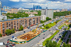 Cityscape: Construction of a new metro line in Moscow Royalty Free Stock Photos