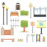 Cityscape Constructor Elements Set In Cute Cartoon Geometric Design, Town Landscape Design Templates. Royalty Free Stock Photography