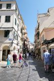 Cityscape of Corfu town Kerkyra with people walking through hi stock photos