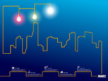 Cityscape with creative wire light bulb Stock Photo