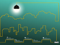 Cityscape with creative wire light bulb Stock Image