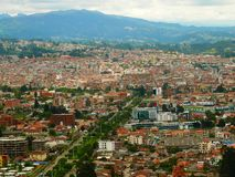 A cityscape of Cuenca, Ecuador. Taken from El Turi lookout with mountains in the background royalty free stock photo