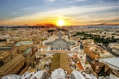 CITYSCAPE BY CUPOLA SAINT PETER BASILICA. FAMOUS DESTINATION OF ROME. TOP OF ATTRACTION IN ITALY, FAMOUS DESTINATION OF ROME. TRAVEL IN EUROPE. MOST VALUABLE Royalty Free Stock Image