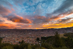 Cityscape of Cusco and cloudscape at dusk, Peru Royalty Free Stock Photography