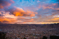 Cityscape of Cusco and cloudscape at dusk, Peru Royalty Free Stock Images